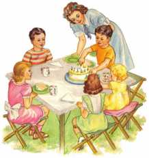 Mom serving birthday cake to children.