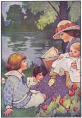 Mother reading to children by river