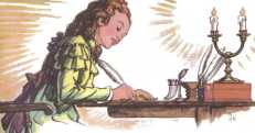 Girl writing by candle light.