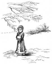Victorian girl in the snow