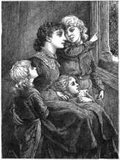 Mother and children looking out window