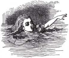 'I wish I hadn't cried so much!' said Alice, as she swam about, trying to find her way out.