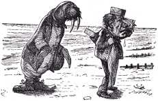 The Walrus and the Carpenter, Were walking close at hand; They wept like anything to see, Such quantities of sand...